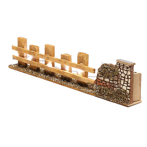 Wooden fence for Nativity scene 4x35x8 cm with lights for figurines 4-6 cm 3