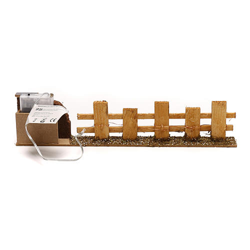 Wooden fence for Nativity scene 4x35x8 cm with lights for figurines 4-6 cm 5