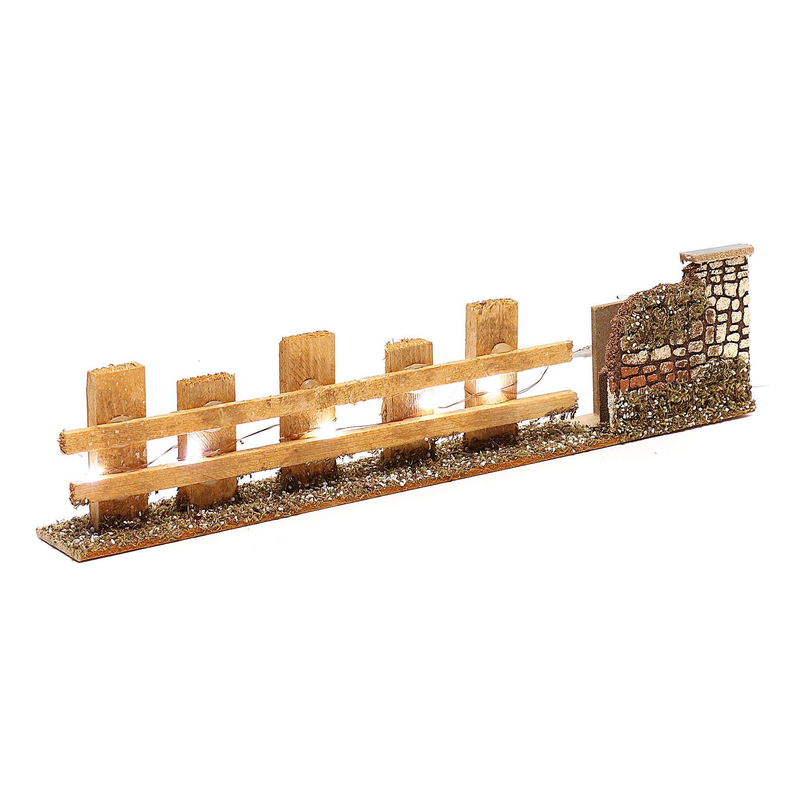 Cerca de madera para belén 4-6 m 4x35x8 cm con luces 4