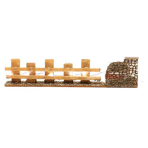 Cerca de madera para belén 4-6 m 4x35x8 cm con luces 1