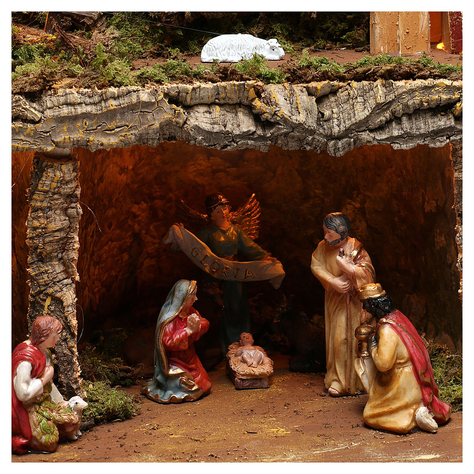 Nativity scene setting village with lights, waterfall and 10 cm characters 50x80x80 cm 4