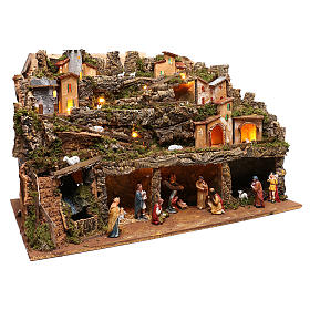 Nativity scene setting village with lights, waterfall and 10 cm characters 50x80x80 cm s4