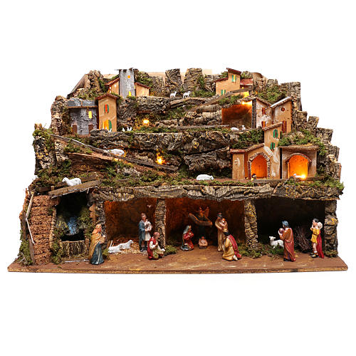 Nativity scene setting village with lights, waterfall and 10 cm characters 50x80x80 cm 1