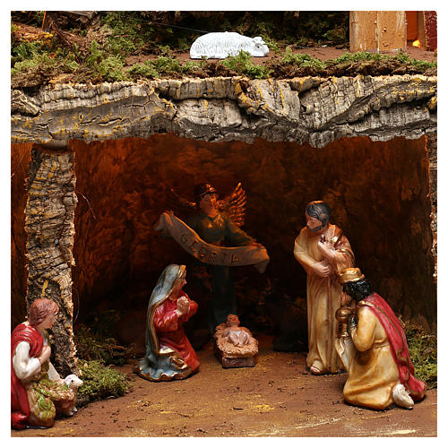 Nativity scene setting village with lights, waterfall and 10 cm characters 50x80x80 cm 2