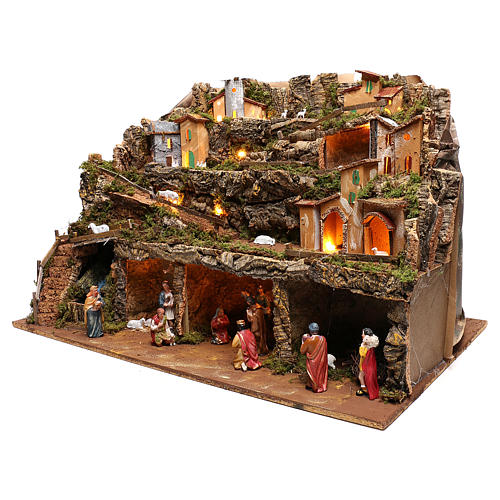 Nativity scene setting village with lights, waterfall and 10 cm characters 50x80x80 cm 3