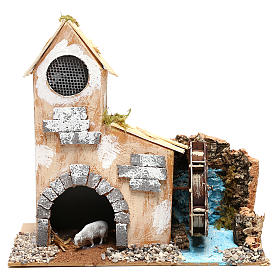 Cottage for Nativity scene with fake water mill for Nativity scene 8-10 cm s1