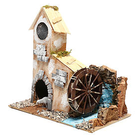 Cottage for Nativity scene with fake water mill for Nativity scene 8-10 cm s2