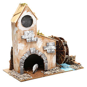 Cottage for Nativity scene with fake water mill for Nativity scene 8-10 cm s3