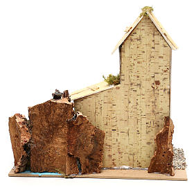 Cottage for Nativity scene with fake water mill for Nativity scene 8-10 cm s4