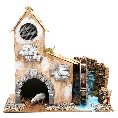 Cottage for Nativity scene with fake water mill for Nativity scene 8-10 cm 1