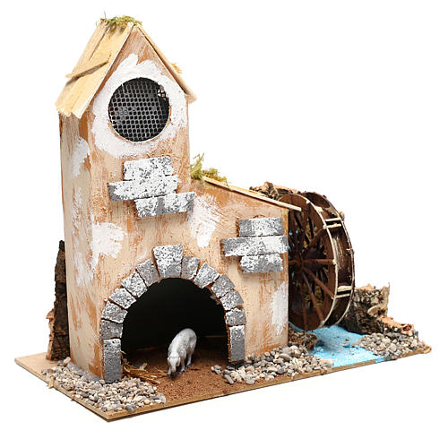 Cottage for Nativity scene with fake water mill for Nativity scene 8-10 cm 3