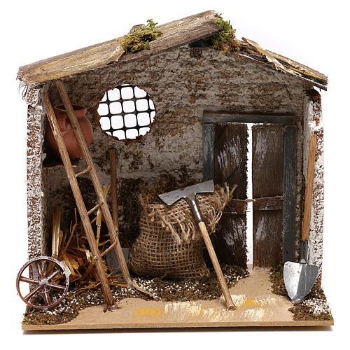 Hut with tools for Nativity scenes for figurines 8-10 cm 1
