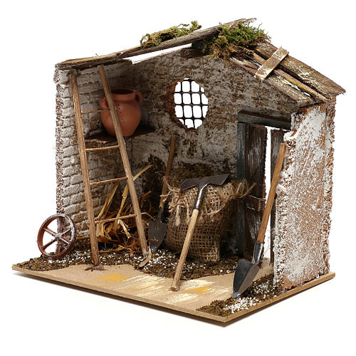 Hut with tools for Nativity scenes for figurines 8-10 cm 2