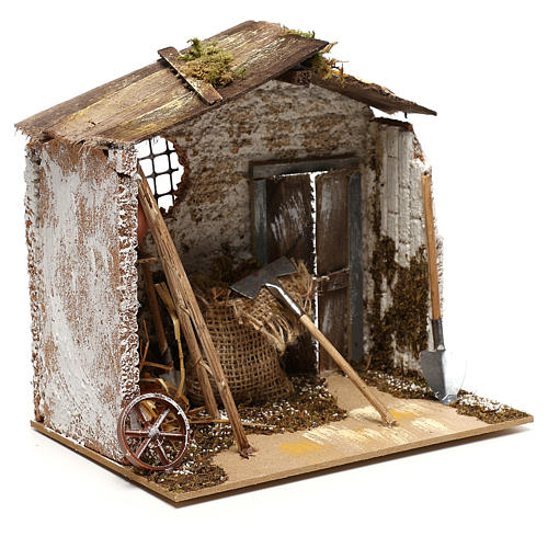 Hut with tools for Nativity scenes for figurines 8-10 cm 3