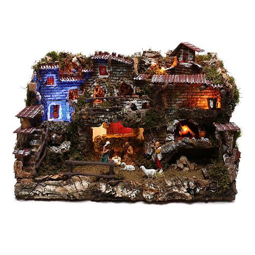 Village santons avec fontaine et lumières effet nuit 6 cm 1