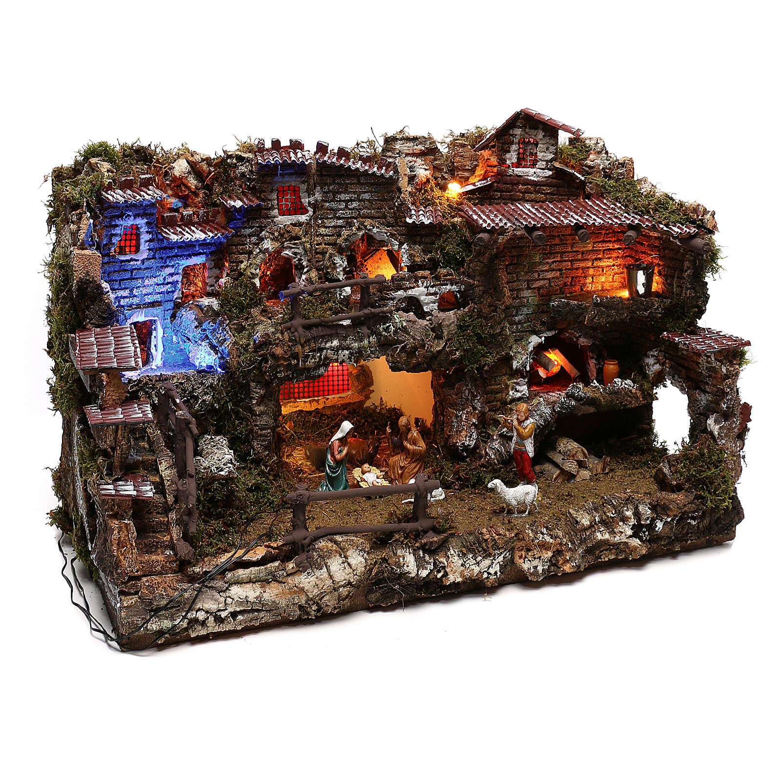 Nativity set village with fountain and night time effect, 6 cm 4