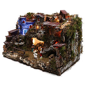 Nativity set village with fountain and night time effect, 6 cm s2