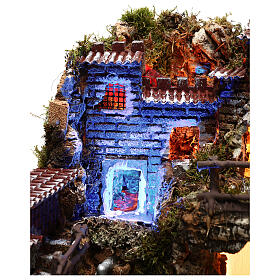 Nativity set village with fountain and night time effect, 6 cm s5