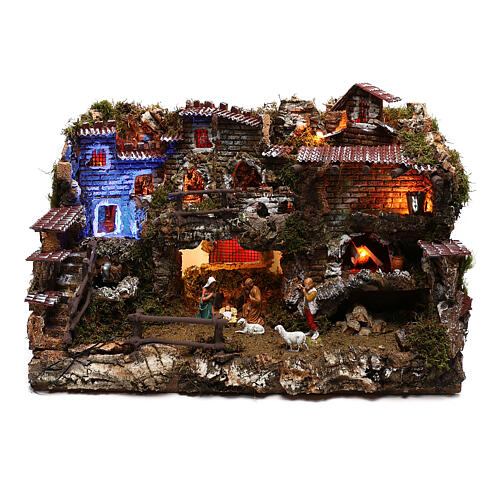 Nativity set village with fountain and night time effect, 6 cm 1