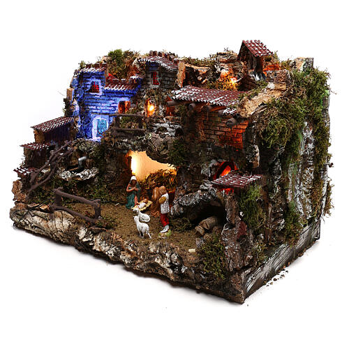 Nativity set village with fountain and night time effect, 6 cm 2
