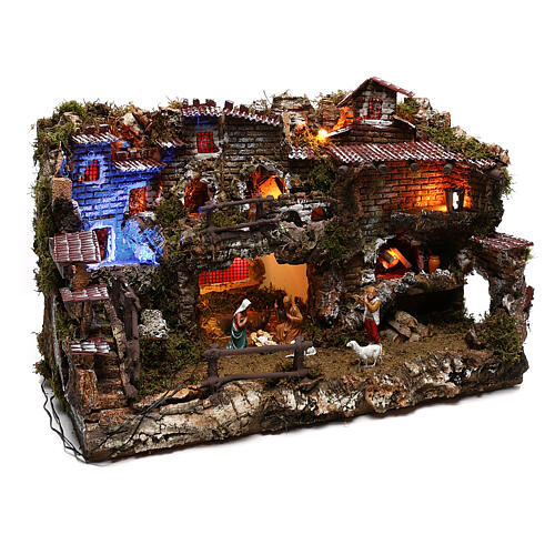 Nativity set village with fountain and night time effect, 6 cm 3