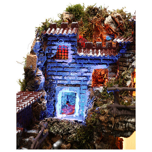 Nativity set village with fountain and night time effect, 6 cm 5