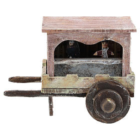 Puppet show cart for 10 cm Nativity scene in wood s1