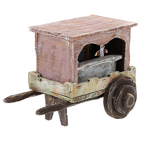 Puppet show cart for 10 cm Nativity scene in wood s3