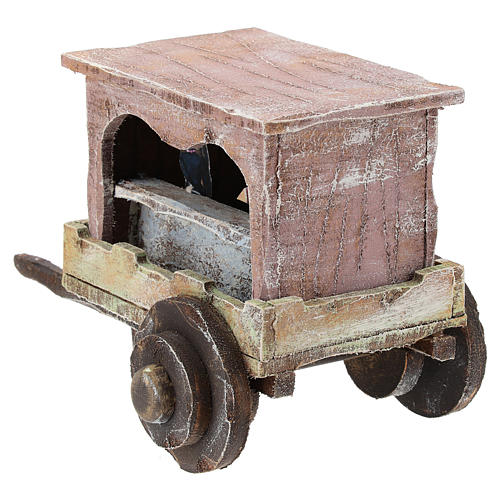 Puppet show cart for 10 cm Nativity scene in wood 5