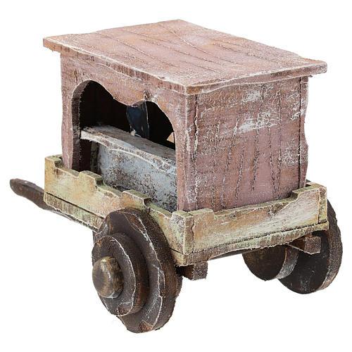 Carro madera titiritero belén 10 cm 5