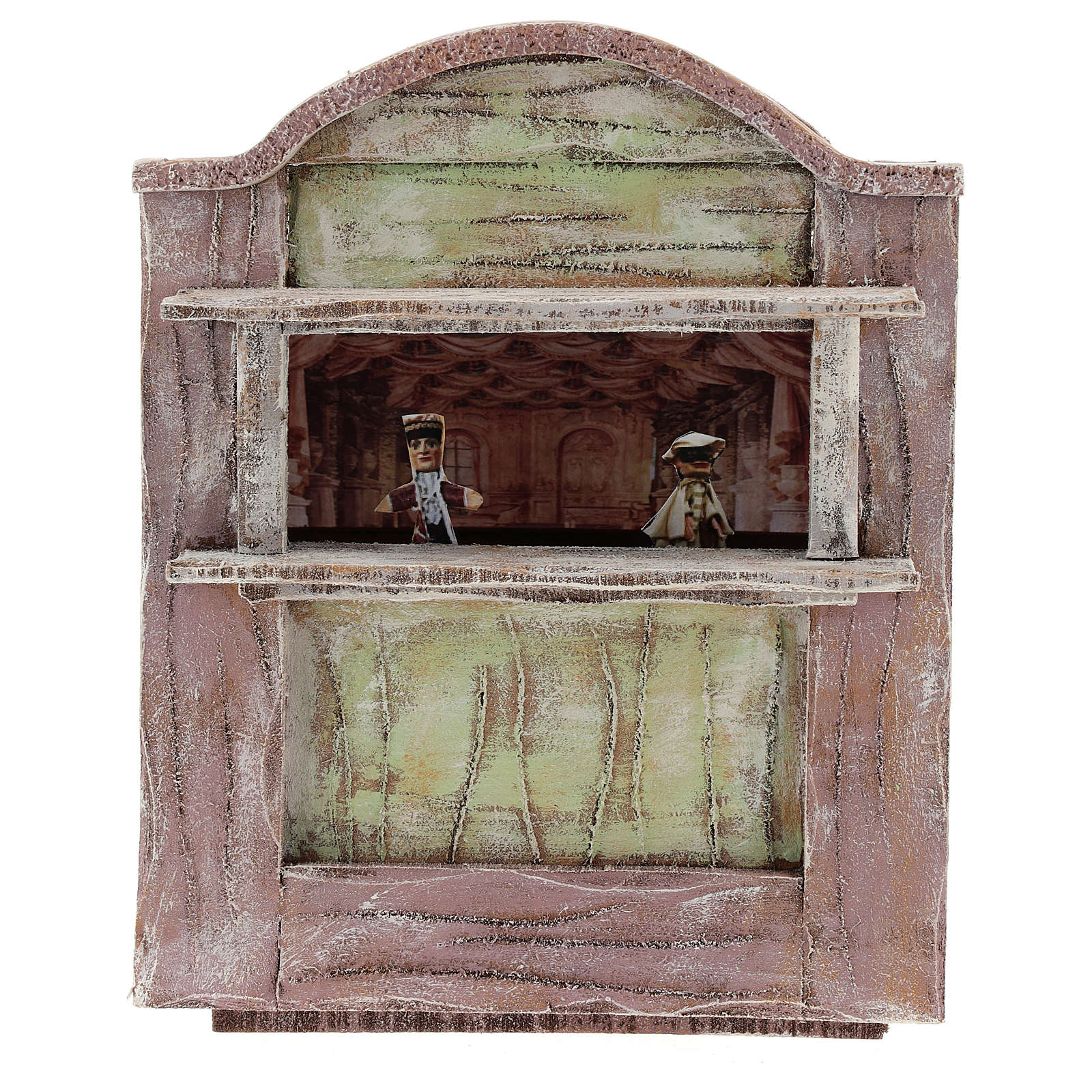 Pink puppet show theatre for 12 cm Nativity scene in wood 4
