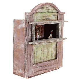 Pink puppet show theatre for 12 cm Nativity scene in wood s3