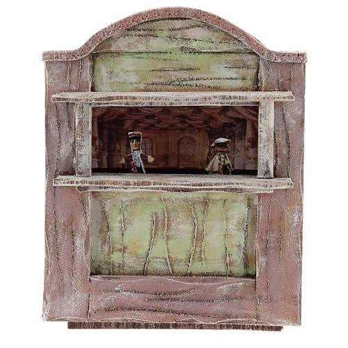 Pink puppet show theatre for 12 cm Nativity scene in wood 1