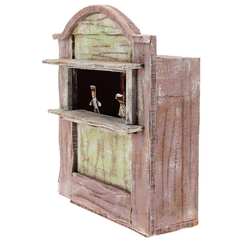 Pink puppet show theatre for 12 cm Nativity scene in wood 2