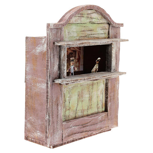 Pink puppet show theatre for 12 cm Nativity scene in wood 3