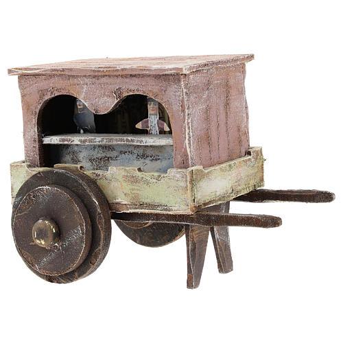 Carro burattinaio legno presepi 12 cm 3