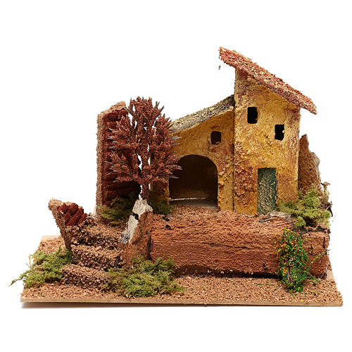 House with autumn tree for 6 cm Nativity scene 1