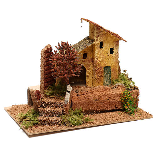 House with autumn tree for 6 cm Nativity scene 3