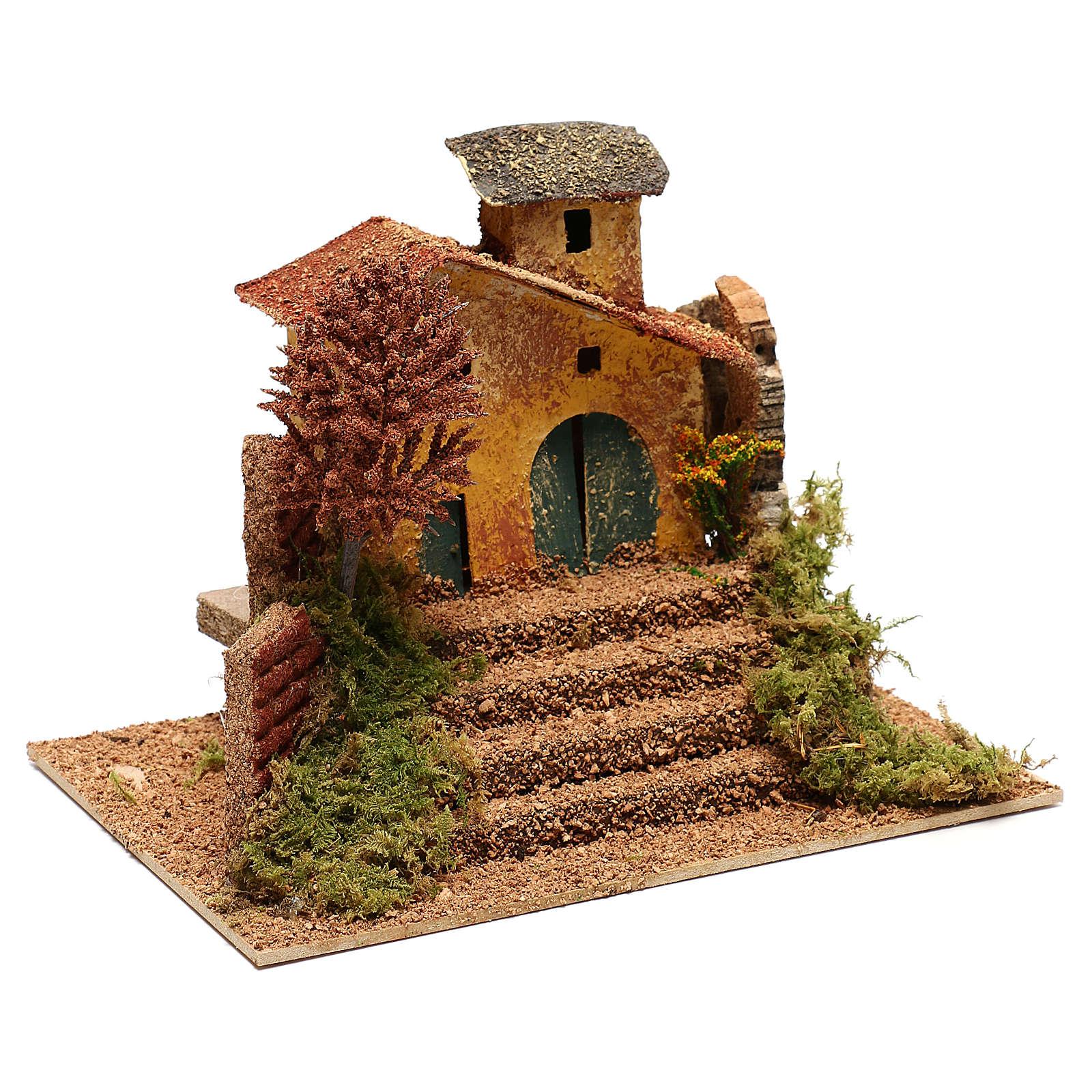 Casolare con albero e scalinata per presepe di 6 cm 4