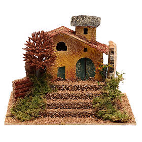 Mini house with fall tree steps, for 6 cm nativity s1