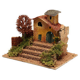 Mini house with fall tree steps, for 6 cm nativity s2