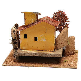Mini house with fall tree steps, for 6 cm nativity s4