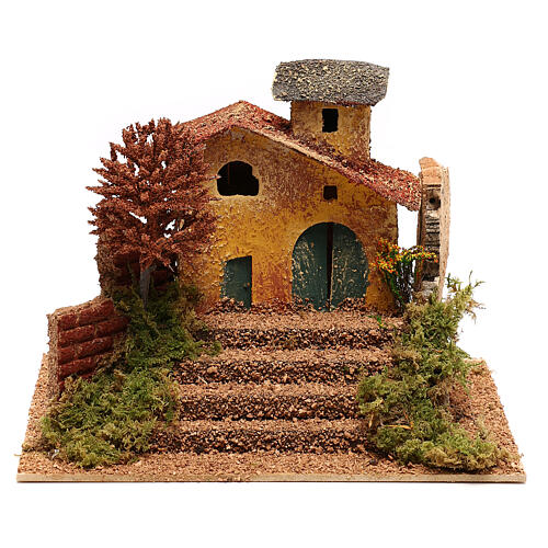 Mini house with fall tree steps, for 6 cm nativity 1