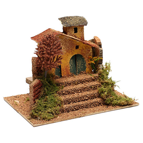 Mini house with fall tree steps, for 6 cm nativity 3