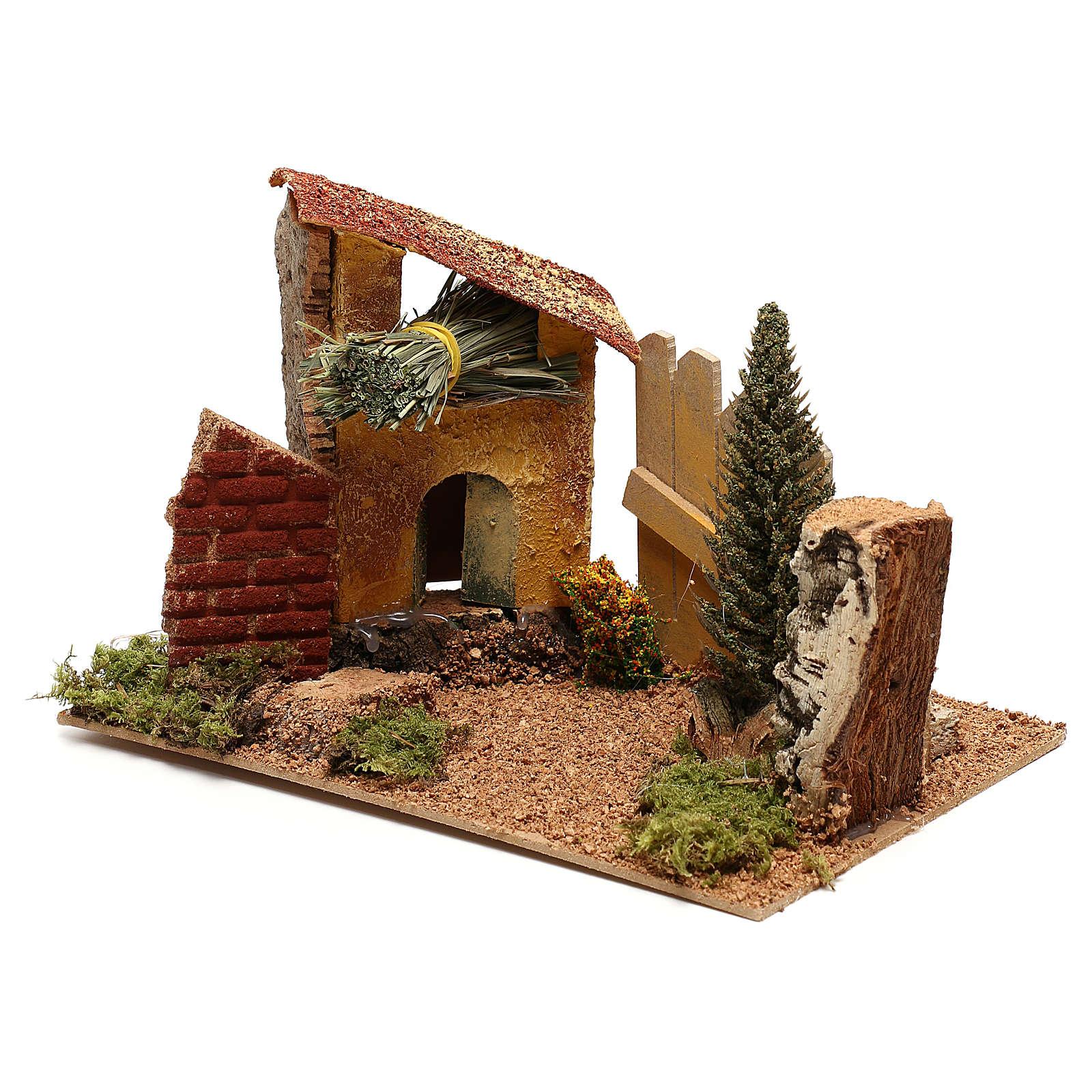 Casa con ciprés para belén de 6 cm 4