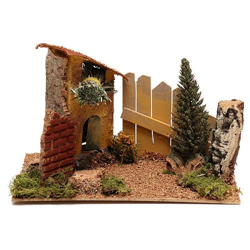 Casa con ciprés para belén de 6 cm 1