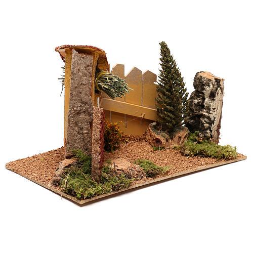 Casa con ciprés para belén de 6 cm 3
