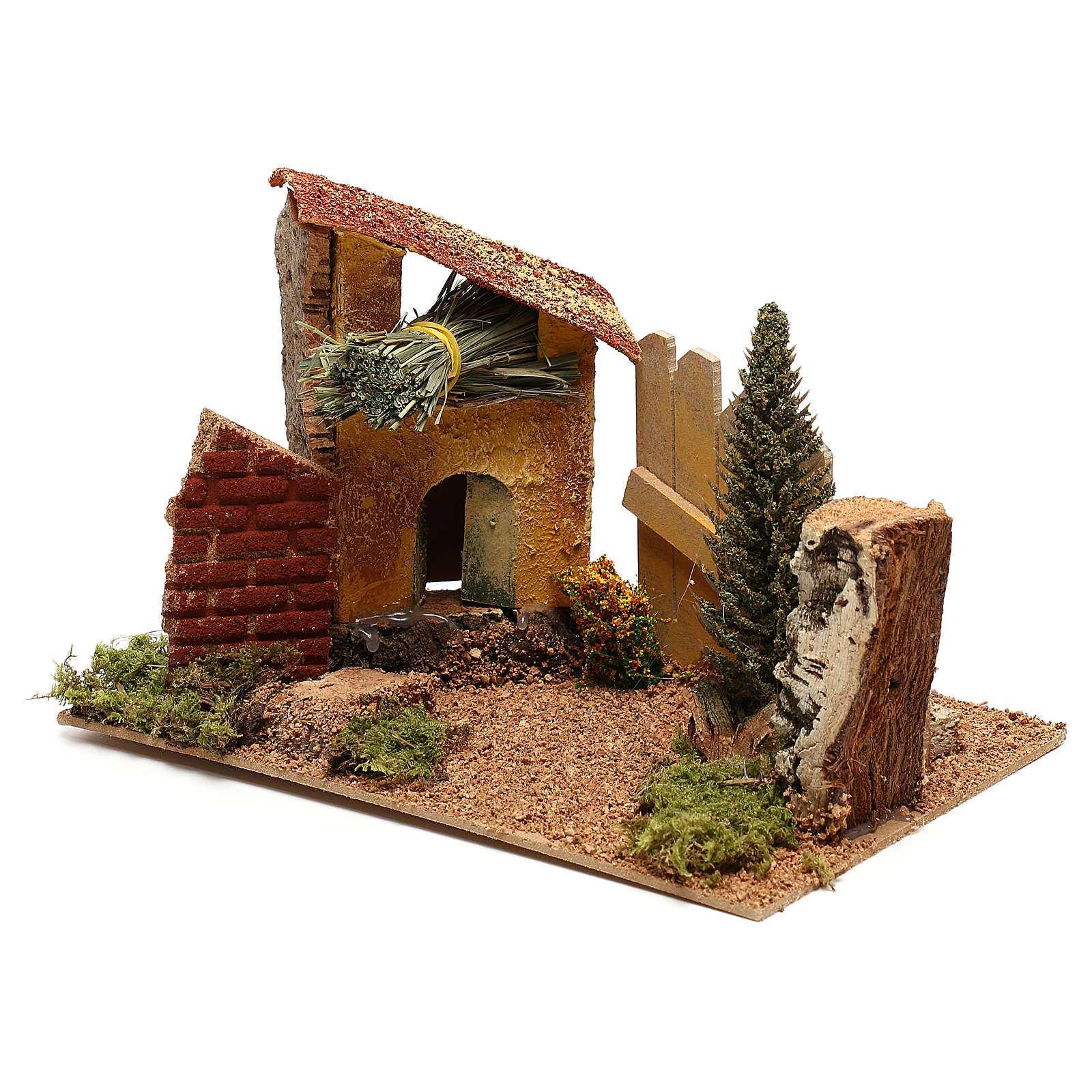Maison avec cyprès pour crèche de 6 cm 4