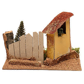 Maison avec cyprès pour crèche de 6 cm s4