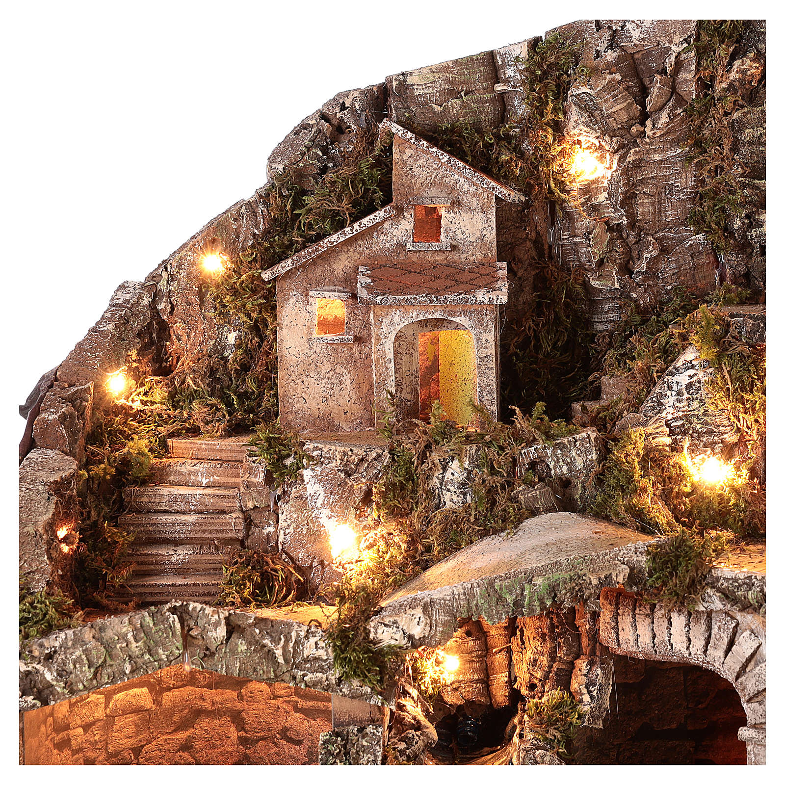 Nativity scene setting with water stream and moving mill for 8-10 cm Neapolitan Nativity scene 65x65x55 cm 4